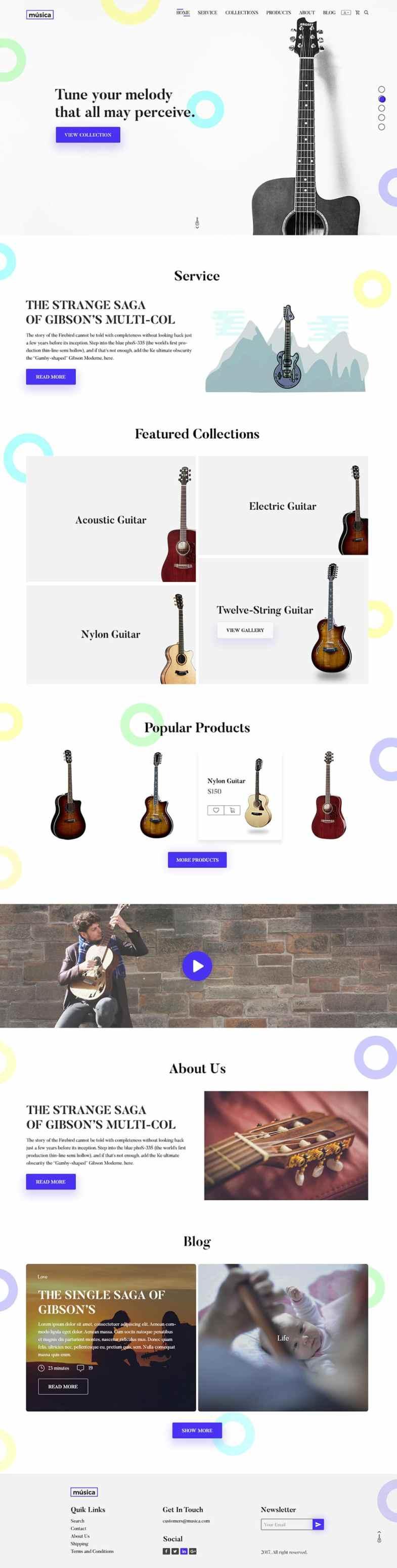 Guitar Store E commerce Web Template PSD Бесплатные шаблоны для интернет-магазина psd - Guitar Store E commerce Web Template PSD - Бесплатные шаблоны для интернет-магазина PSD