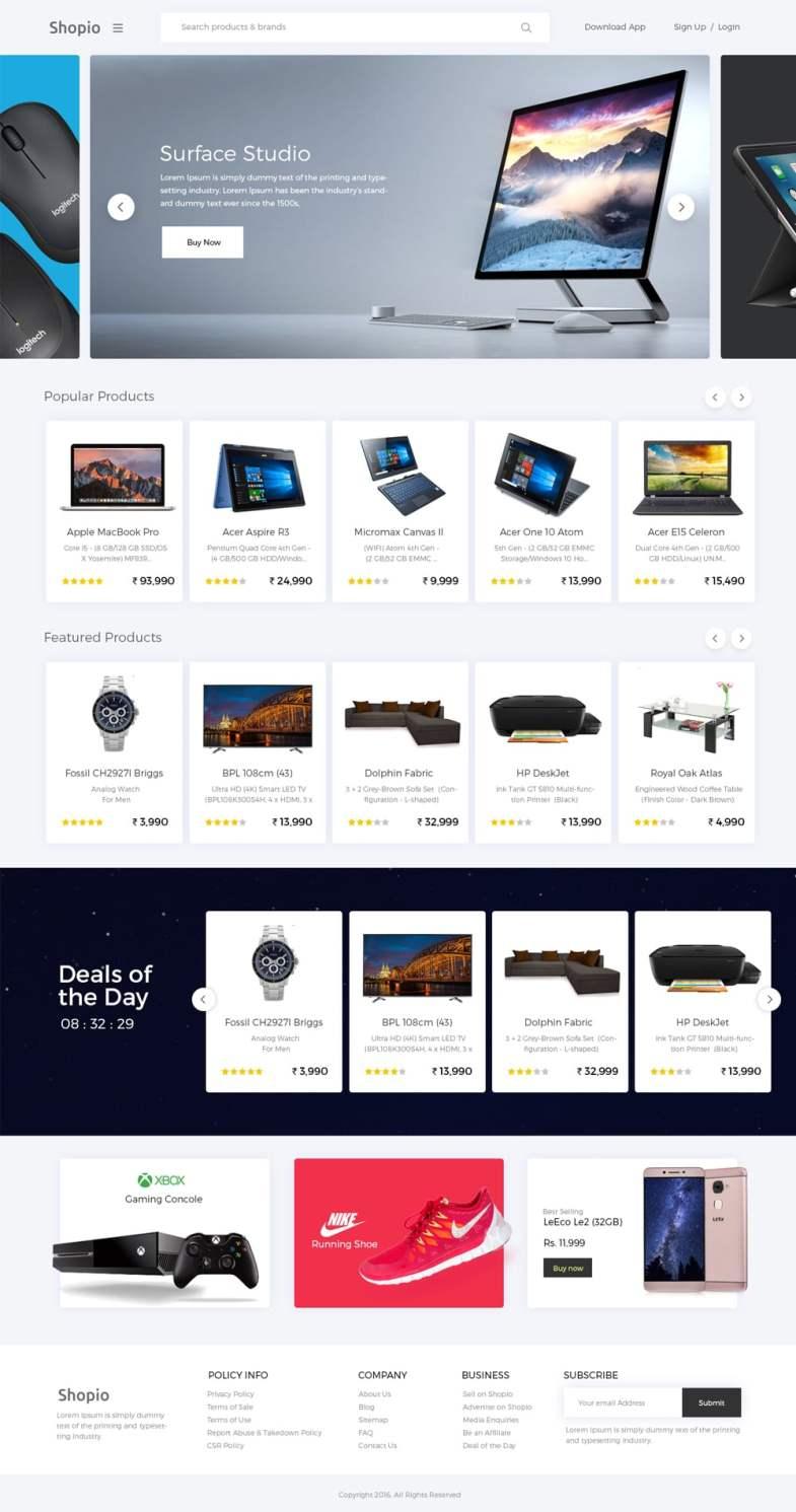 Shopio Бесплатные шаблоны для интернет-магазина psd - Shopio - Бесплатные шаблоны для интернет-магазина PSD