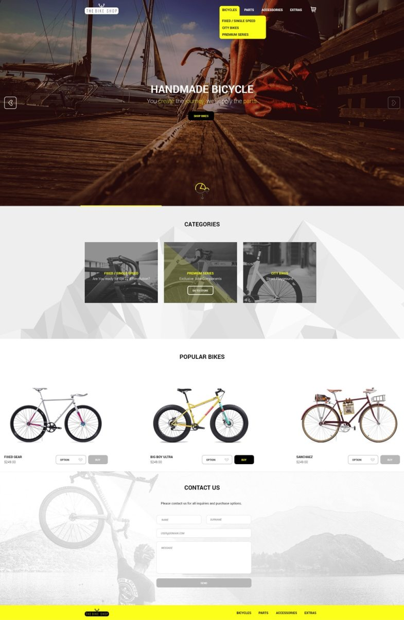 The Bike Shop - Free Home Page PSD
