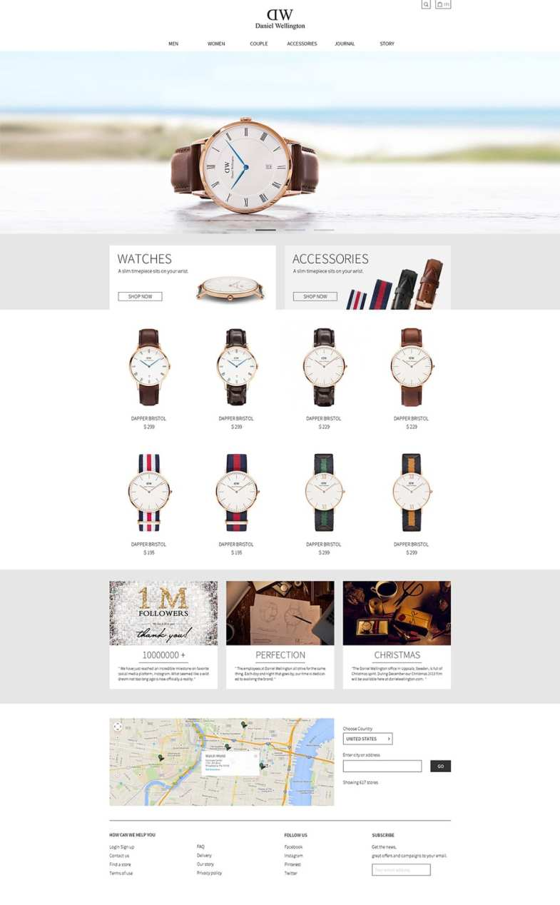 Daniel Wellington Website Free PSD