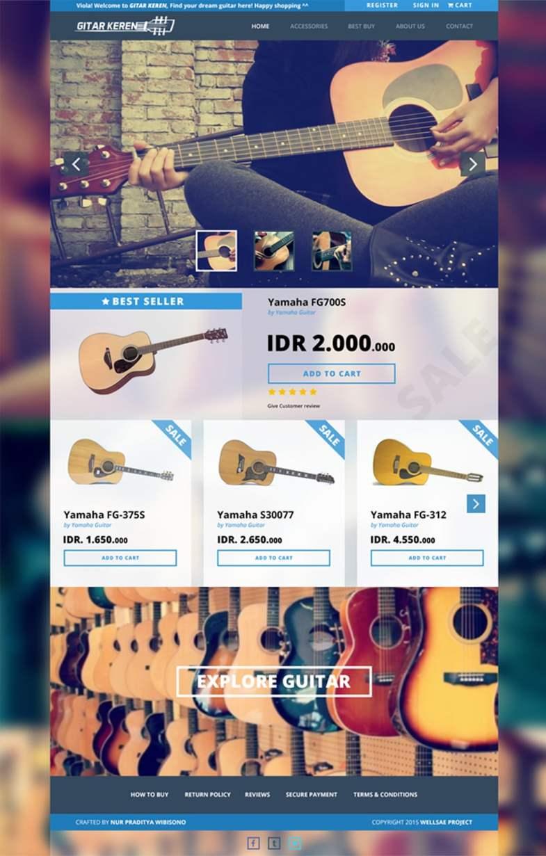 Gitar Keren - Free WebTemplate PSD Бесплатные шаблоны для интернет-магазина psd - Gitar Keren Free Web Template PSD - Бесплатные шаблоны для интернет-магазина PSD
