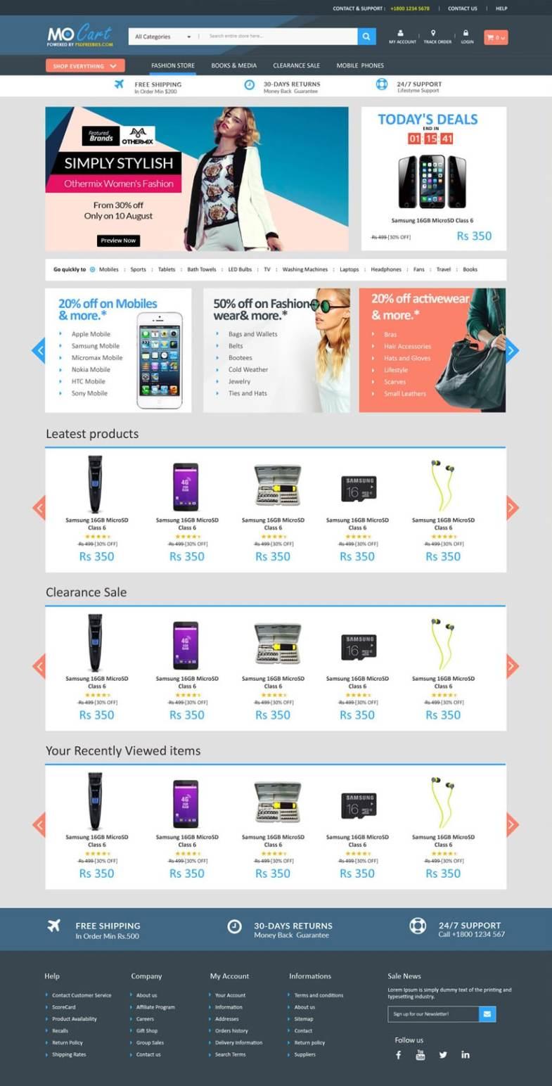 Mocart Бесплатные шаблоны для интернет-магазина psd - Mocart - Бесплатные шаблоны для интернет-магазина PSD