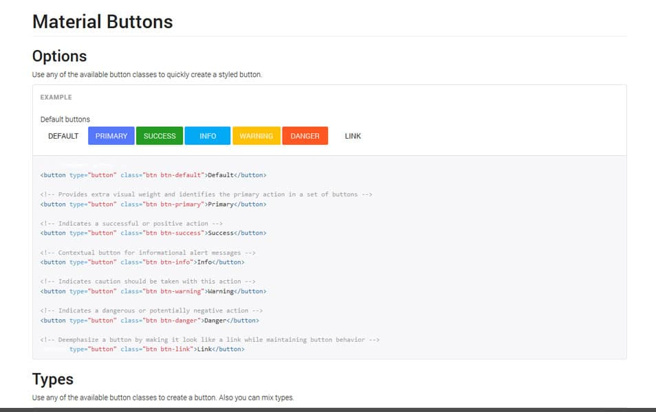 Bootstrap Material Design Buttons