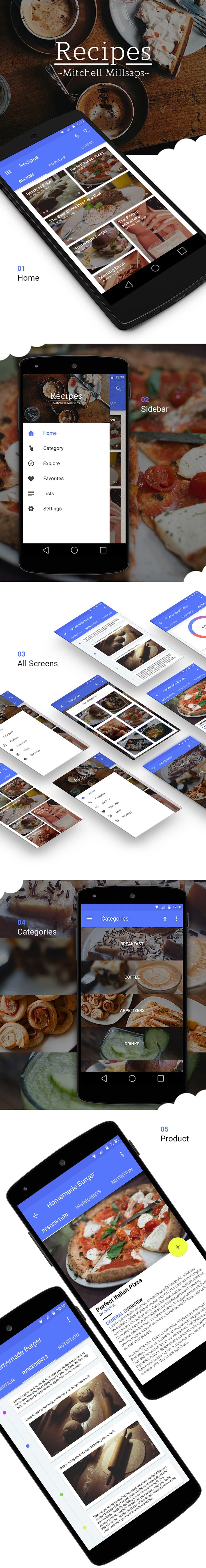 Recipes Material Design Free App Mockup
