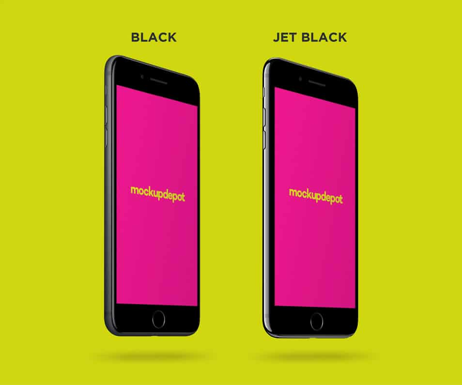 Free 4K Black and Jet Black iPhone 7 Plus PSD mockup