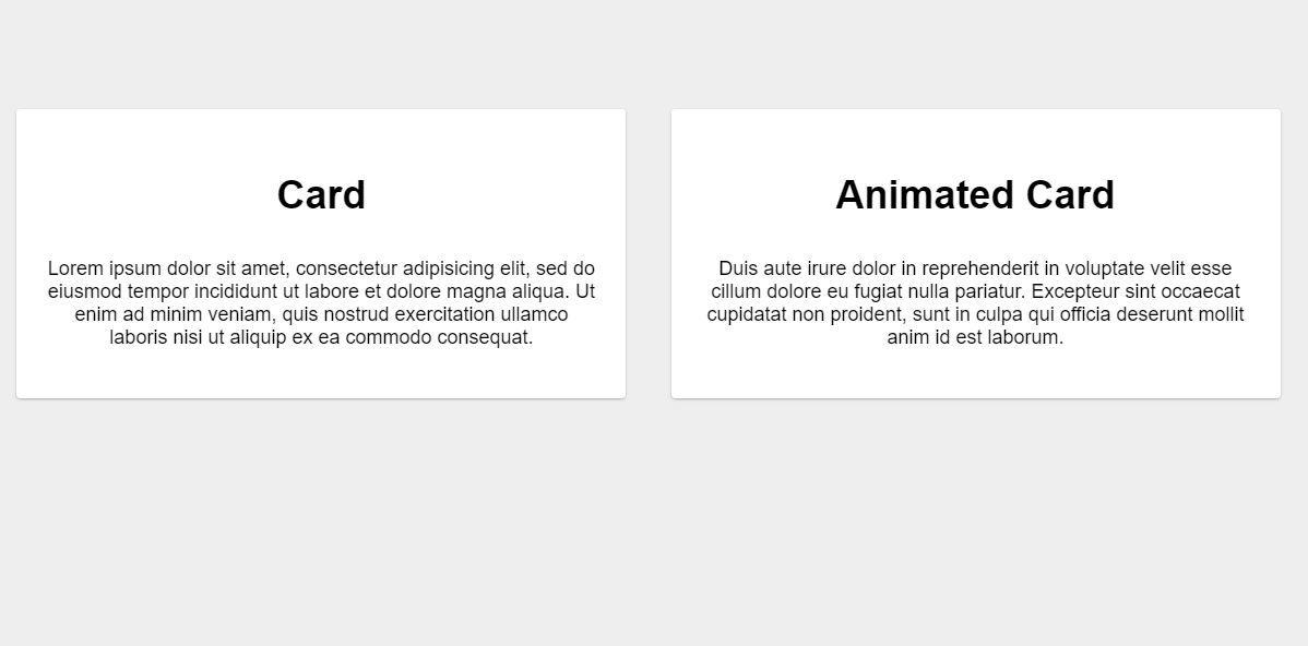 Animated Card Pure CSS Material Design Concept