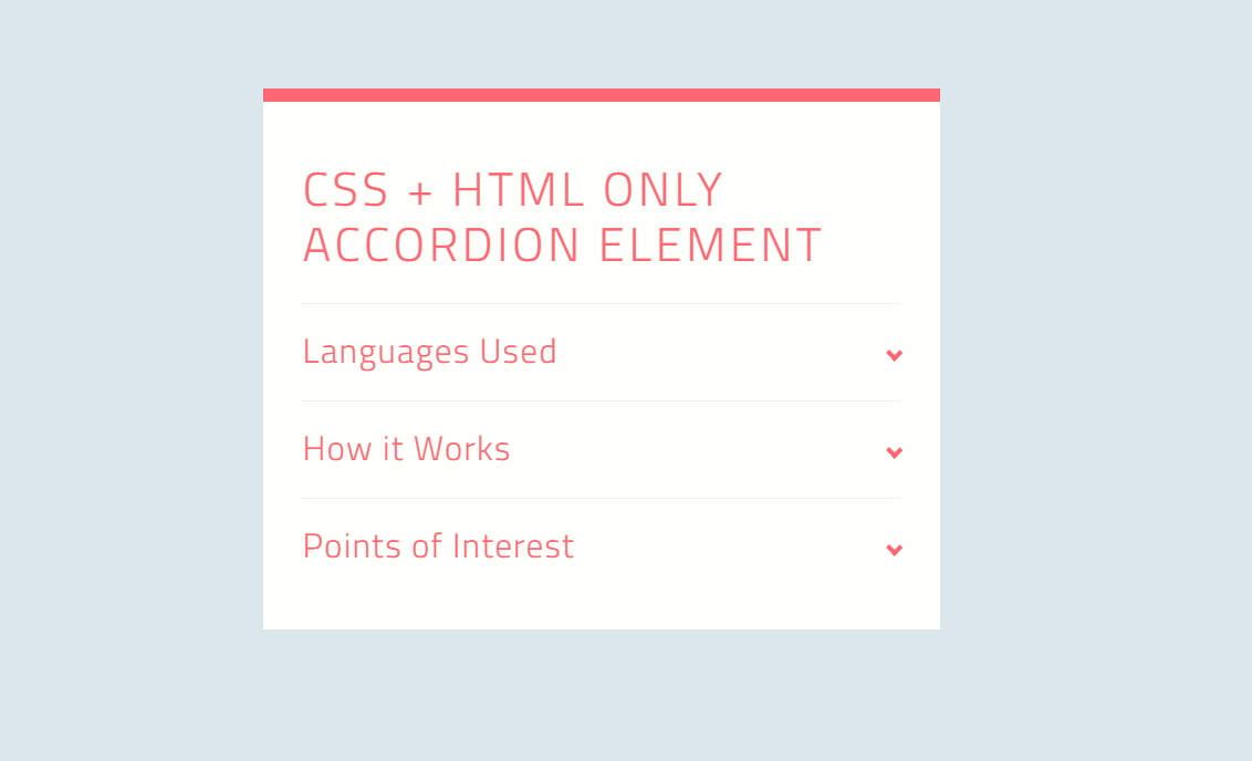 CSS And HTML Only Vertical Accordion Element