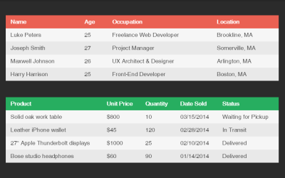 CSS Table Layout HTML Code Snippet