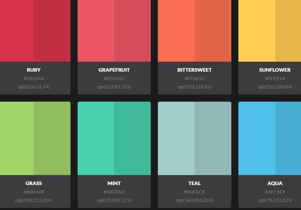 HTML CSS Fatalistic Color Palette UI Concept