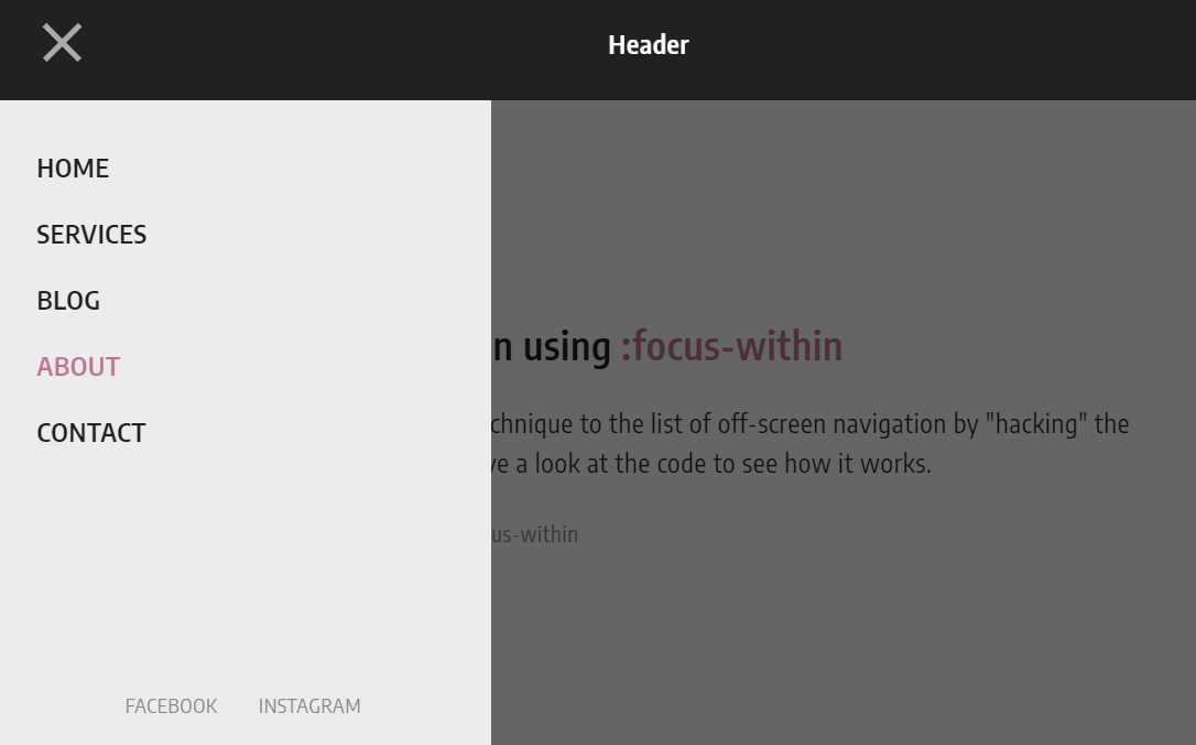 Pure CSS Off-Screen Nav Menu Focus Within