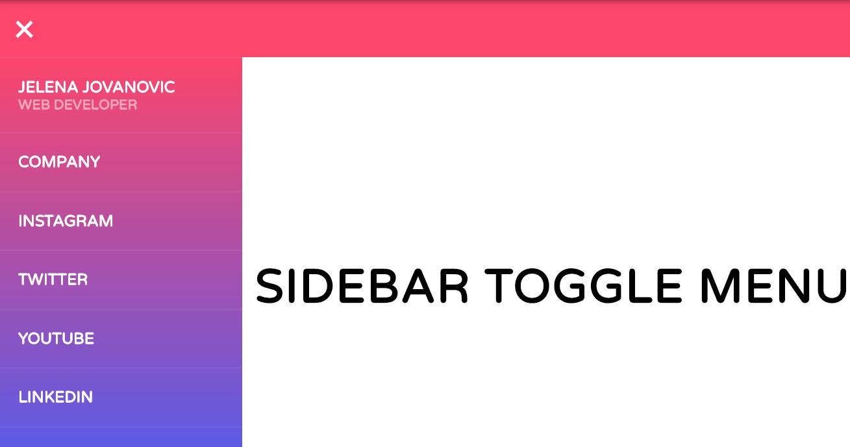Pure HTML CSS Sidebar Toggle Menu Design