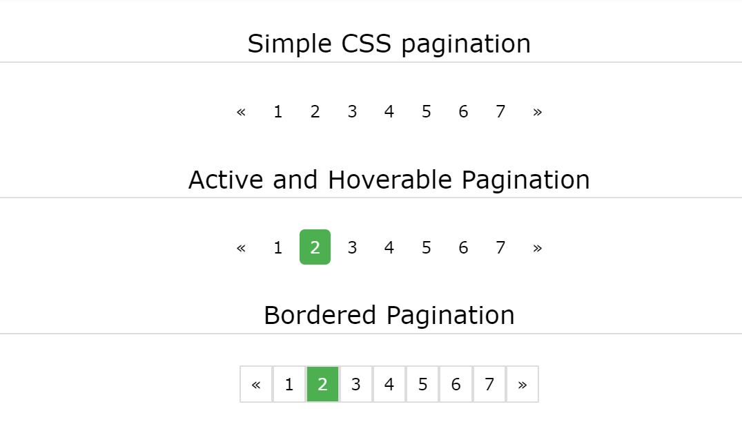 Simple, Bordered, Active and Hoverable CSS Paging