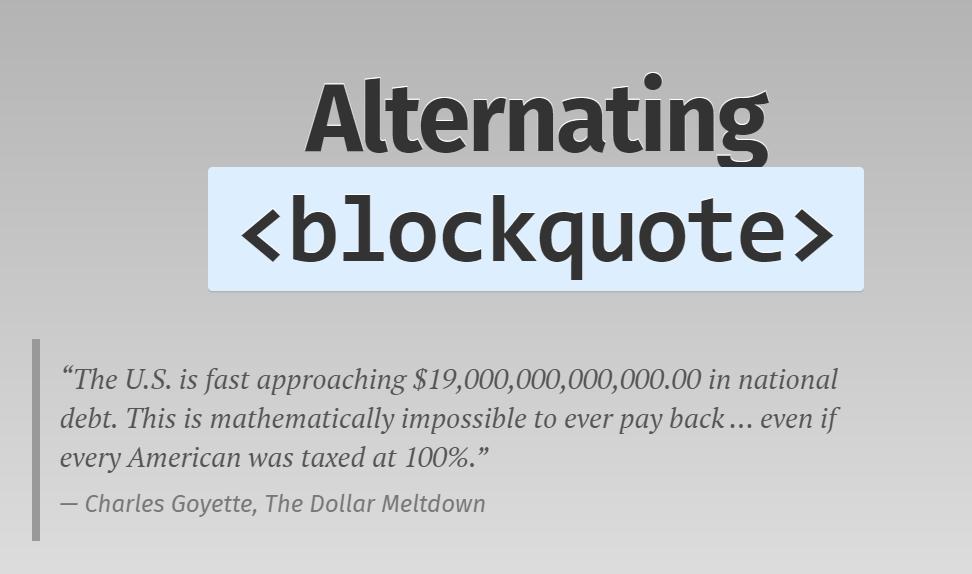 Alternating Blockquotes Testimonials CSS Code