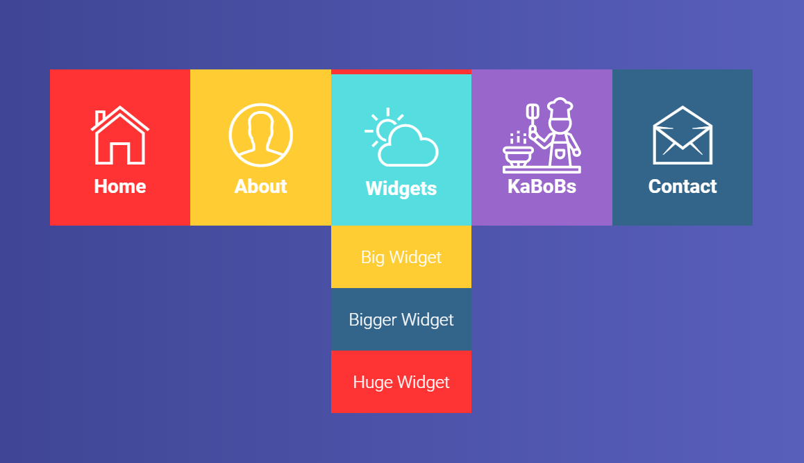 CSS Animated Dropdown Menu with Text And Icon