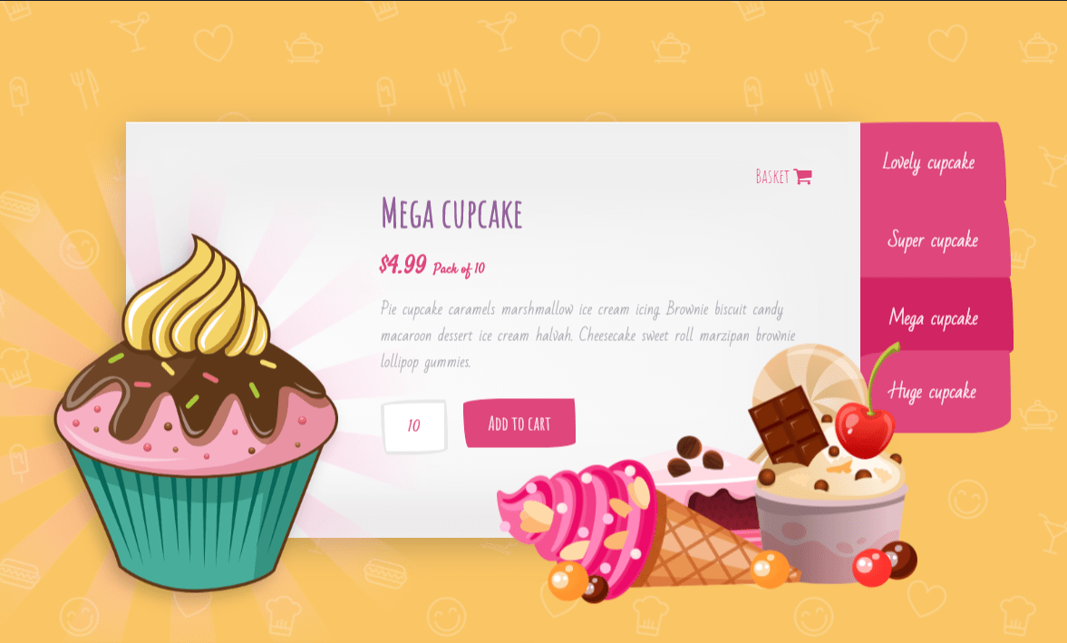 CSS Only Cupcake Slider with Sprinkles