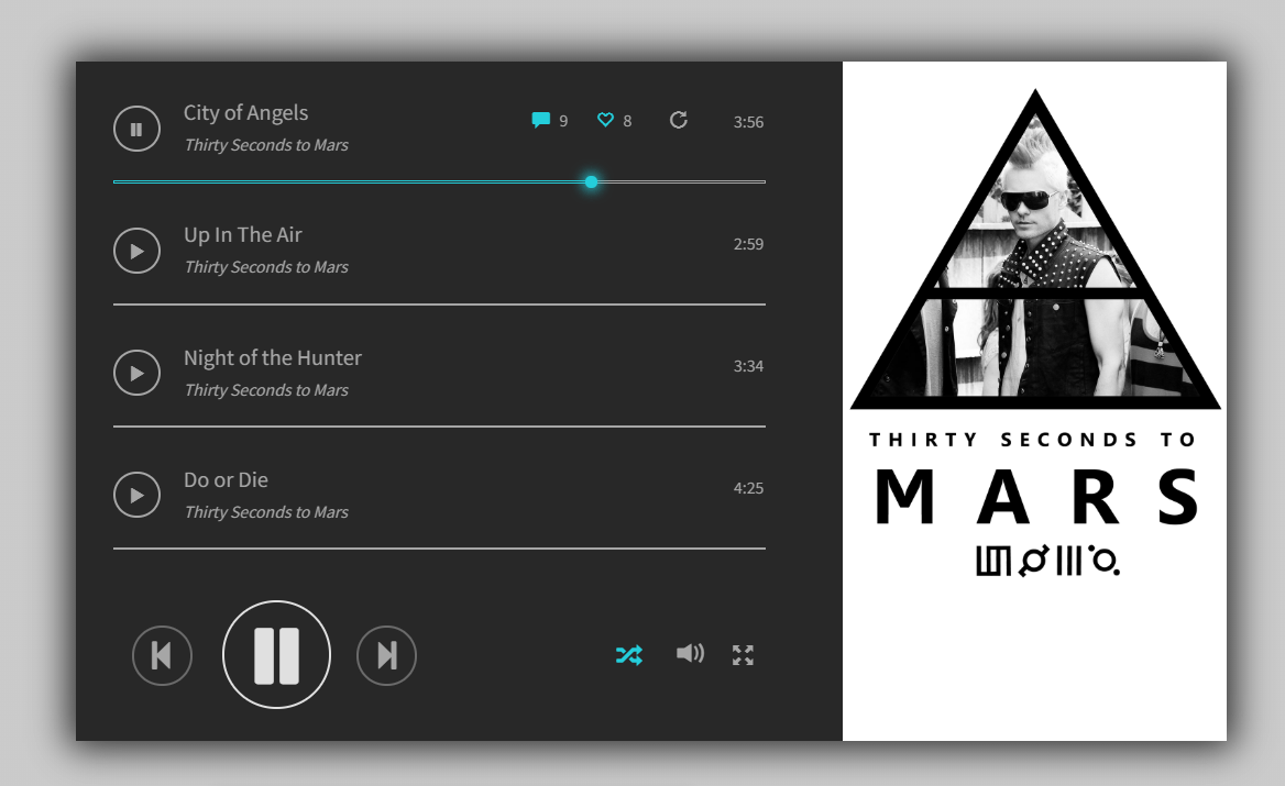 Free CSS Music Player Layout Example