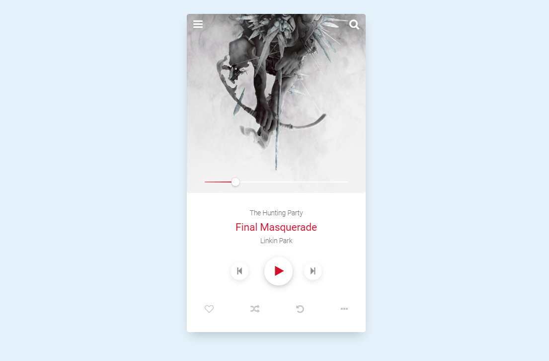 HTML CSS Mp3 Player UI Design Code Snippet