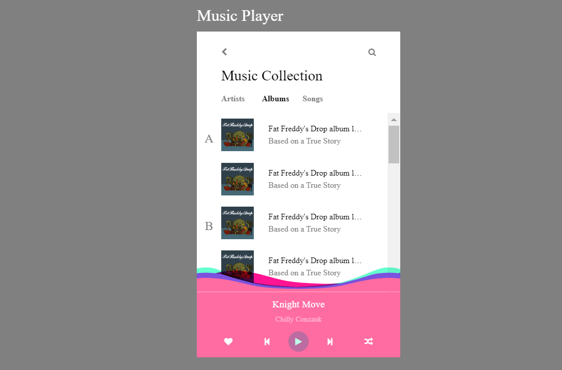 Pure CSS Music Player Mix Blend Mode Sticky