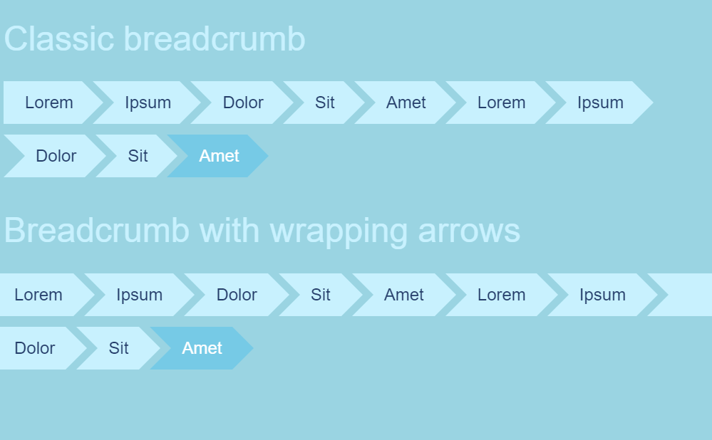 Responsive Breadcrumb with Wrapping Arrow