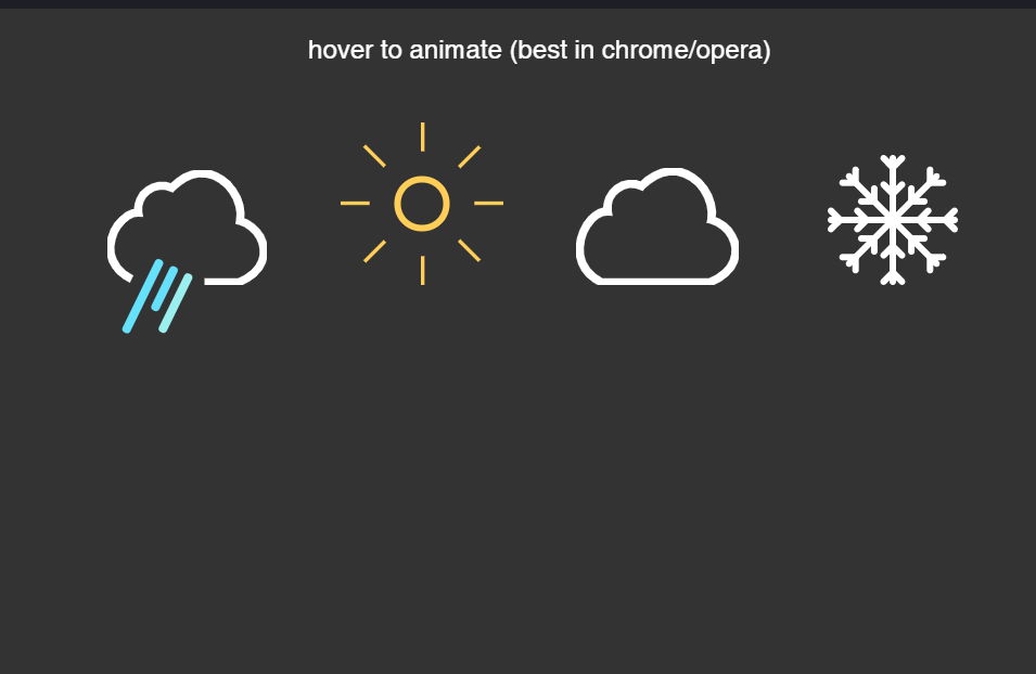 Simple Weather Icons Animation On Hover