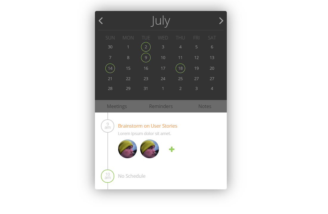 Awesome CSS Only Calendar Planner Code Snippet