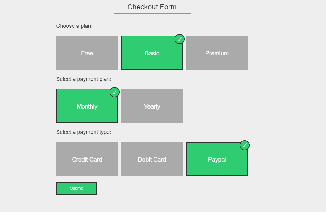 Checkout Form Using Styled Radio Buttons