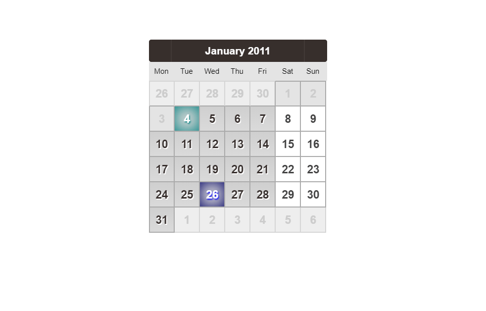 CSS Calendar Design Without Tables