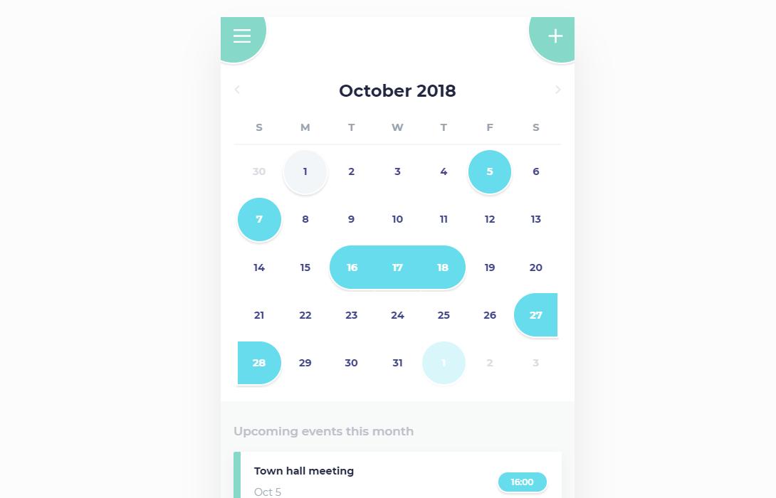 CSS Calendar Mobile App UI Code Snippet