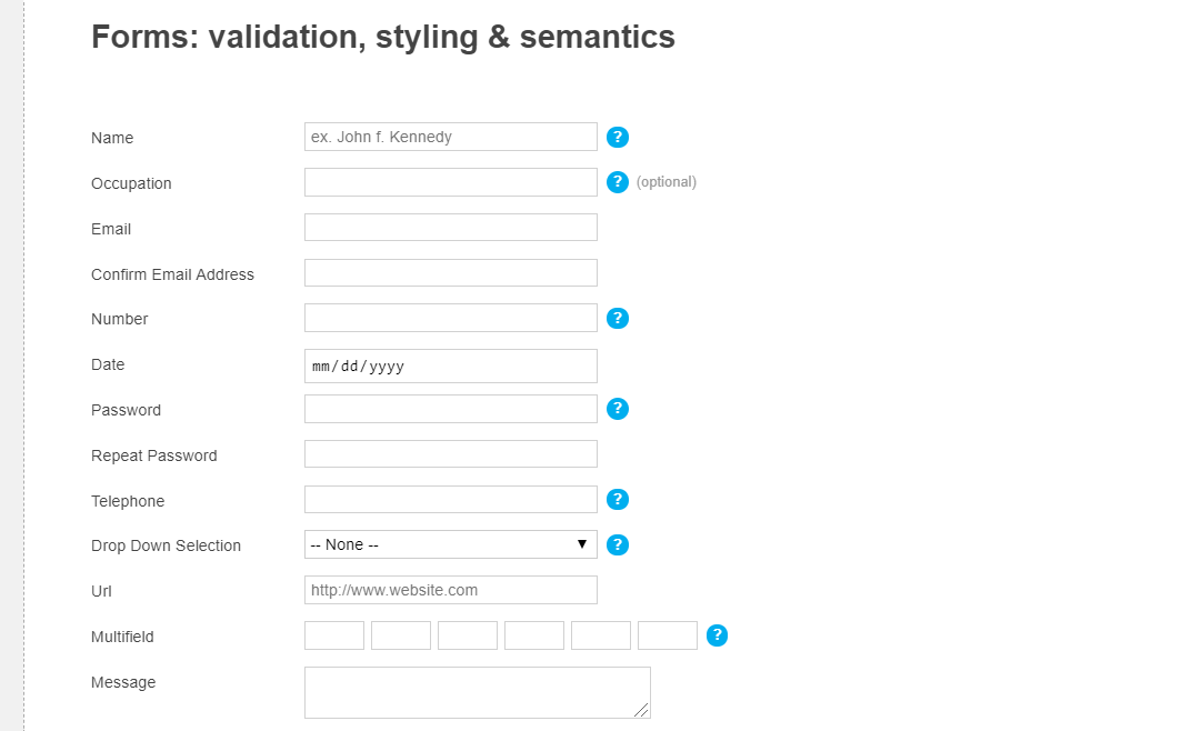 CSS Contact Form with Phone, Email Validation
