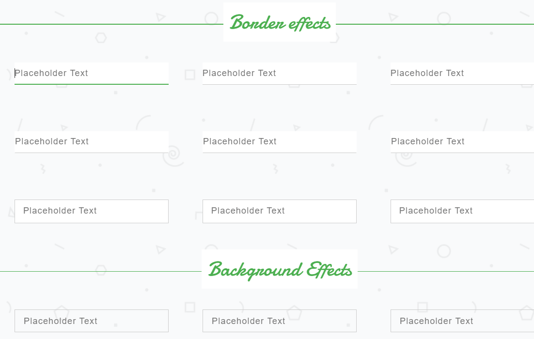 HTML CSS Form Input Designs onHover onFocus