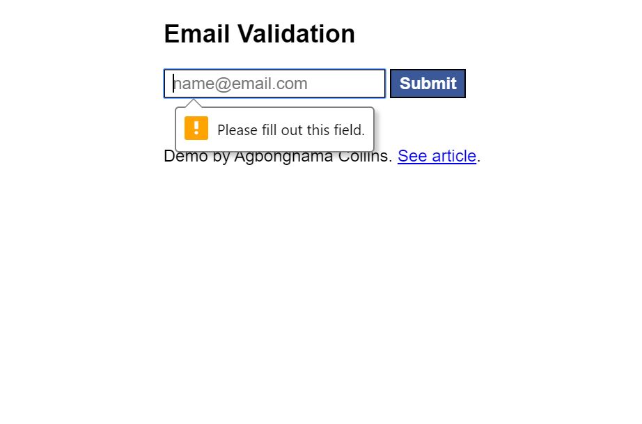 Input Type Email Validation HTML CSS Example