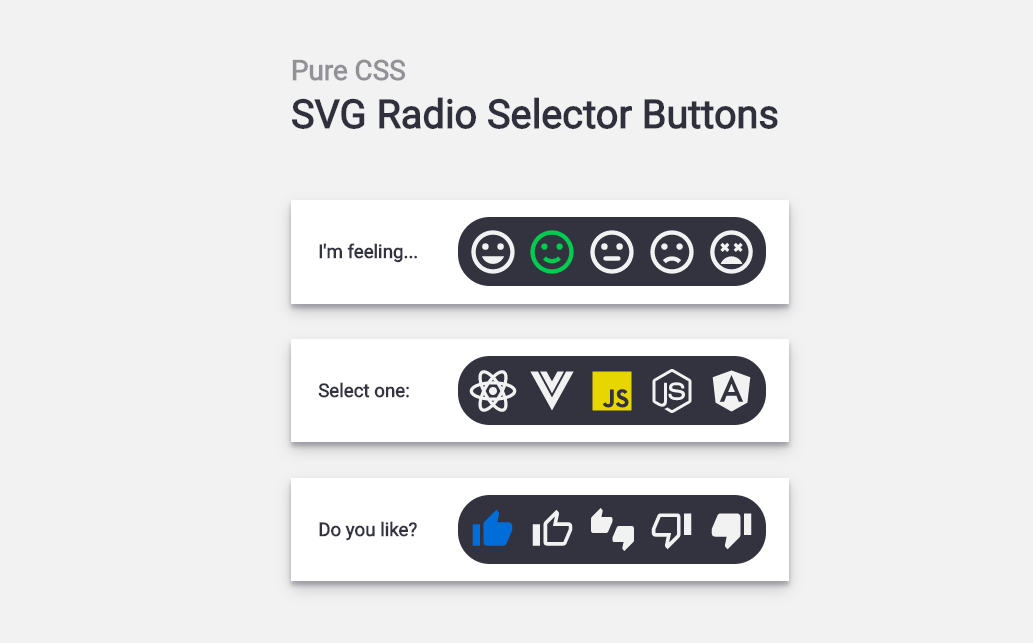 Pure CSS SVG Radio Selector Buttons