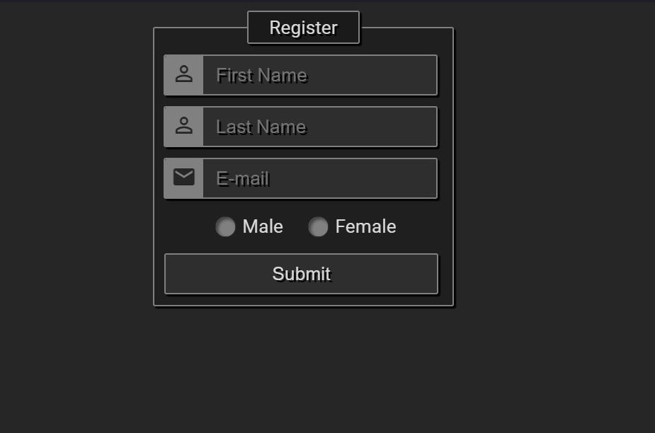 Registration Form Template HTML Code Snippet