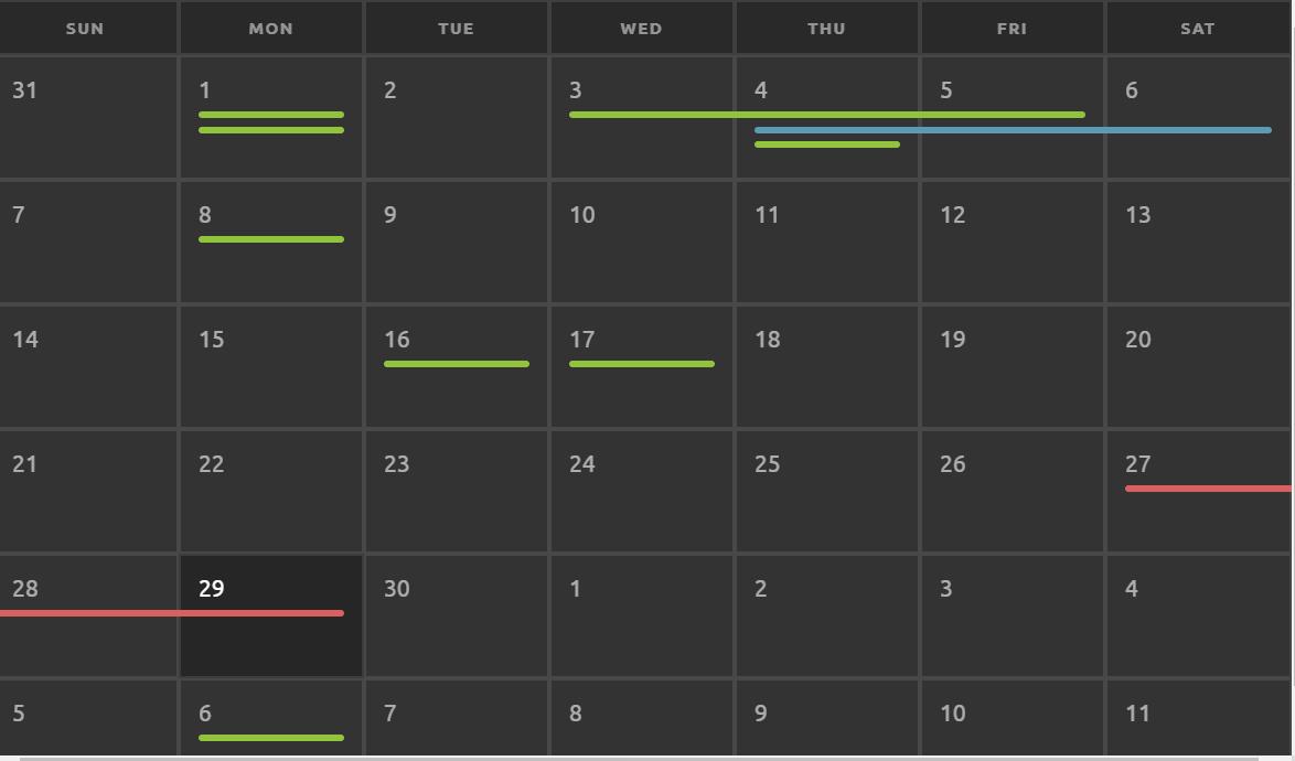 Responsive HTML CSS Calendar Code Snippet