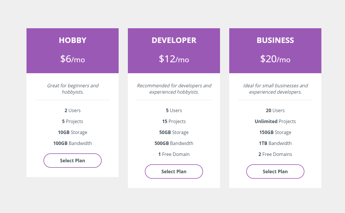 Simple Pure CSS Flat Pricing Table Design
