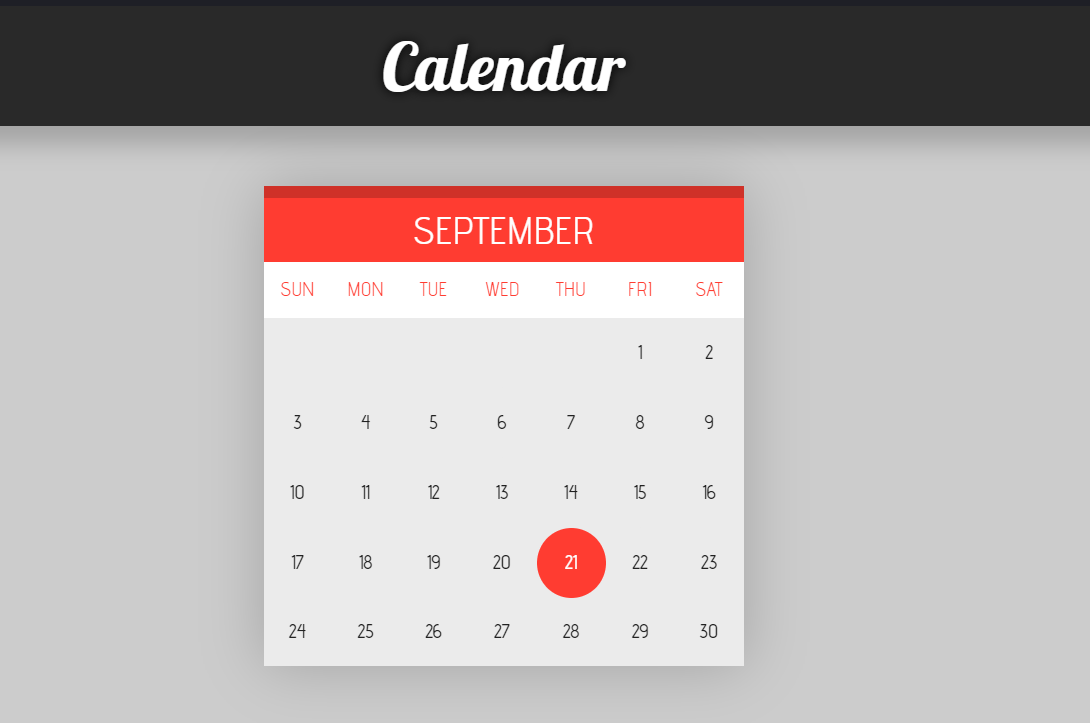 Simple Web Calendar System with HTML And CSS