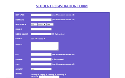 Student Registration Form in HTML with CSS