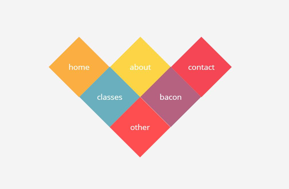 HTML CSS Diamond Grid Menu Example
