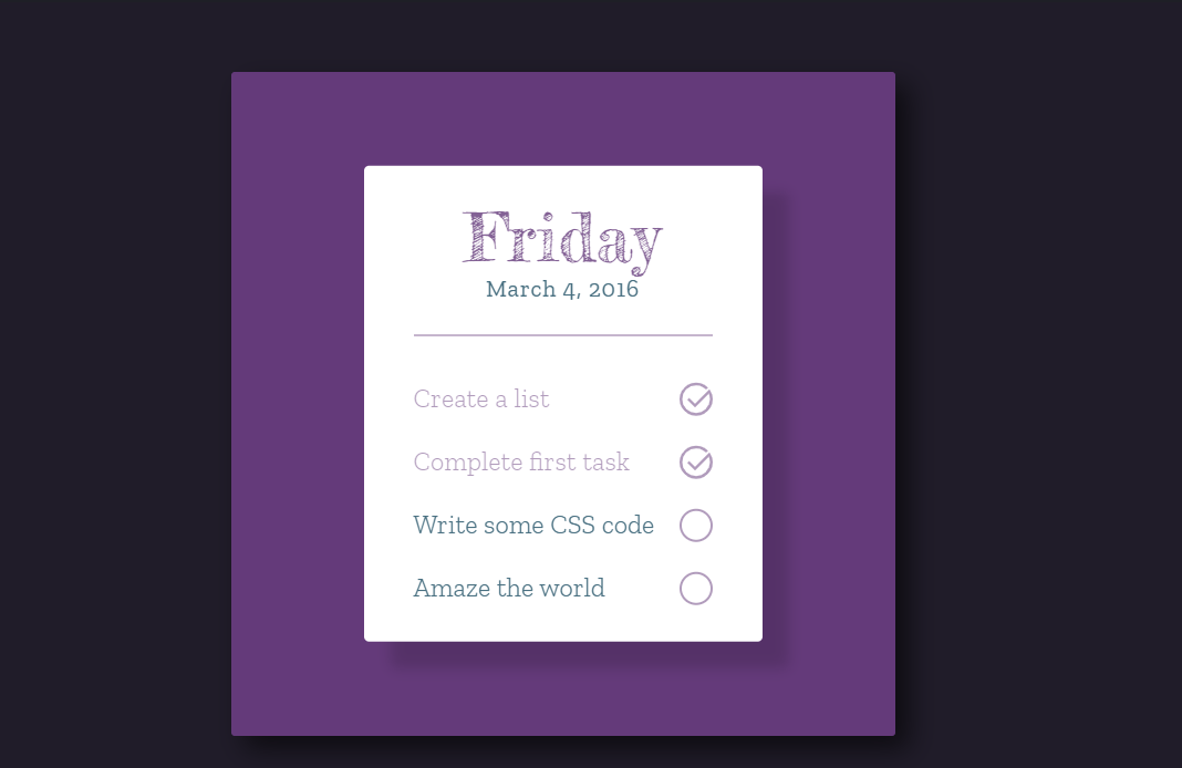 HTML CSS To Do List Style Example