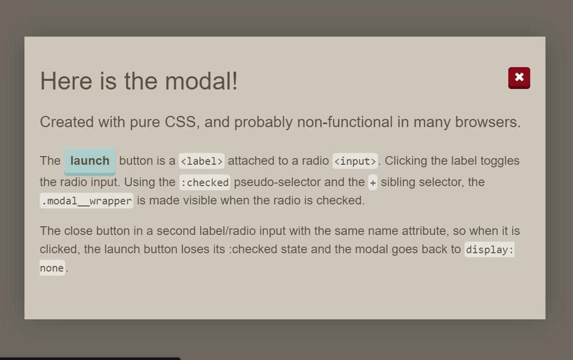 Modal CSS Responsive Popup Window