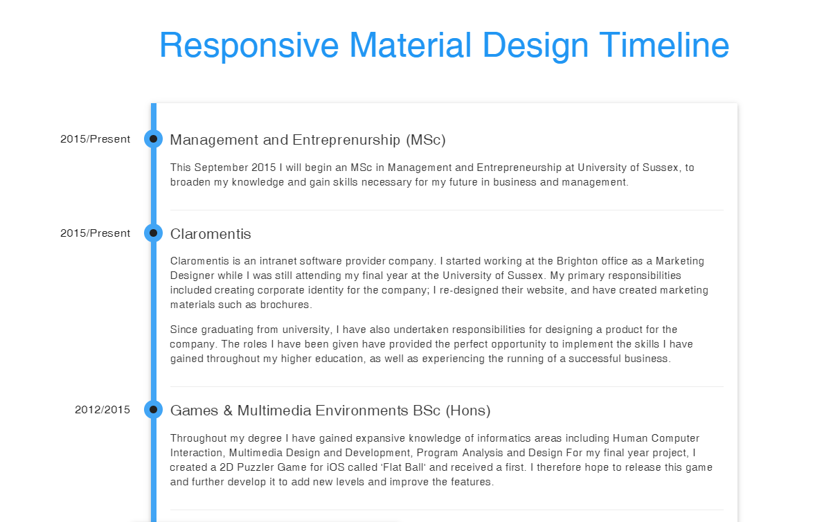 Responsive Material Design CSS Timeline