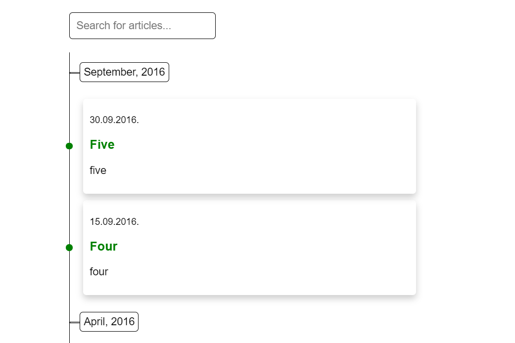 Vue.js Article Timeline with Search Box
