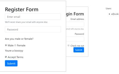 Vue Register Component Slide Form