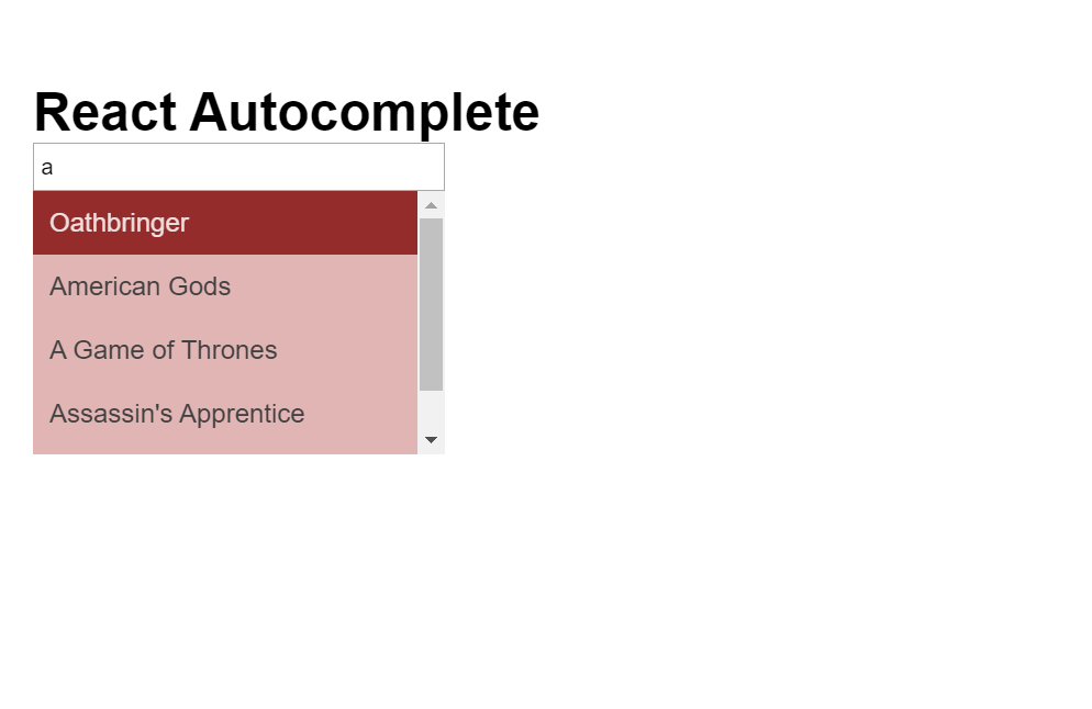 Autocomplete React JS Code Snippet