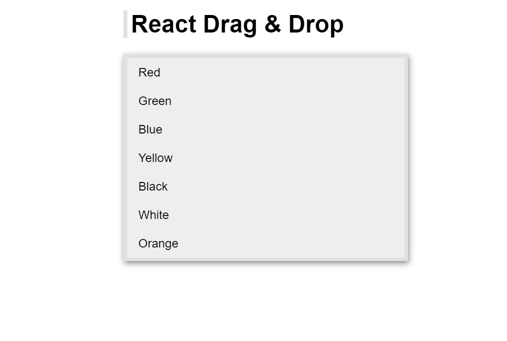 React Drag And Drop List