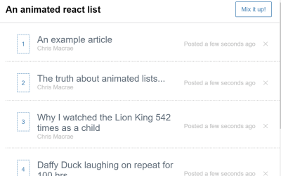 React.js Sorting List Animated