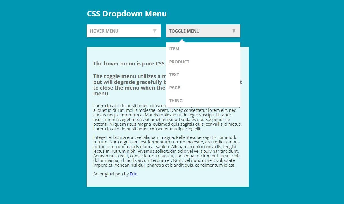 Dropdown Menu Toggle Code Snippet