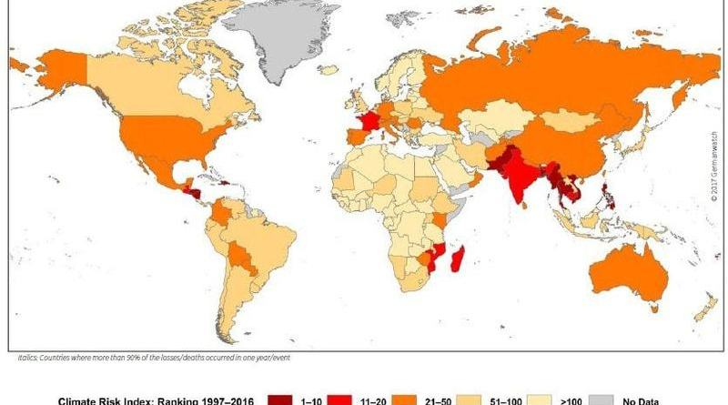 Pakistan 7th most vulnerable country to climate change says world map of the global climate risk index 1997 2016 gumiabroncs Image collections