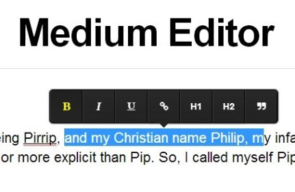 Medium Style Inline Rich Text Editor – Medium Editor