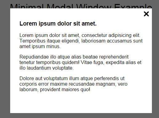 Minimal Modal Window with Plain JavaScript
